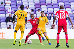 Jamie Maclaren of Australia (R) competes for the ball with Yaseen Mahmoud Bakheet of Jordan (L) during the AFC Asian Cup UAE 2019 Group B match between Australia (AUS) and Jordan (JOR) at Hazza Bin Zayed Stadium on 06 January 2019 in Al Ain, United Arab Emirates. Photo by Marcio Rodrigo Machado / Power Sport Images