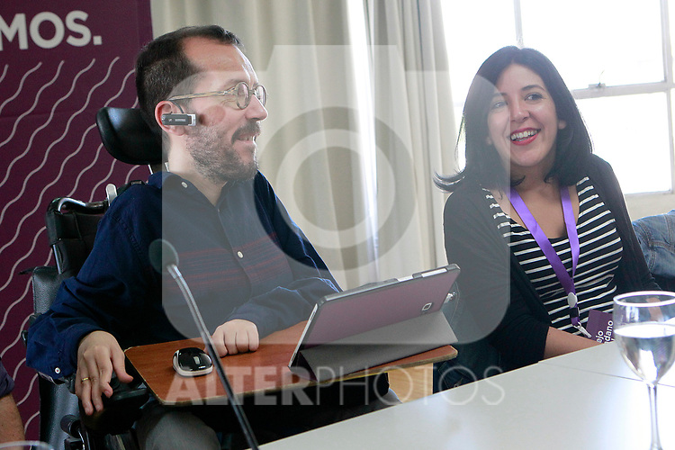 Pablo Echenique, Secretary of Organization (l) and Idoia Villanueva during the Consejo Ciudadano Estatal - State Citizen Council of Podemos. (ALTERPHOTOS/Acero)