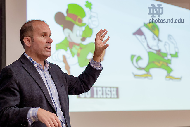 September 12, 2016; Paul Gainer, executive vice president, Disney Retail, speaks to an undergraduate class in Giovanini Commons. (Photo by Matt Cashore/University of Notre Dame)