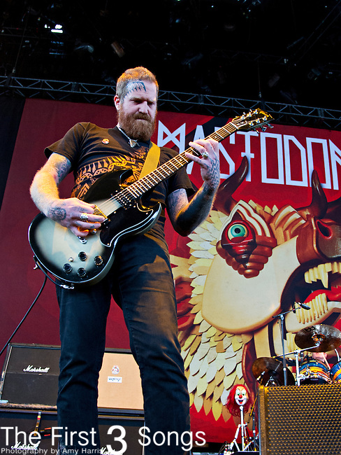 Brent Hinds of Mastodon performs during the 2013 Mayhem Festival at Klipsch Music Center in Indianapolis, Indiana.
