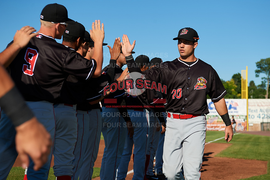 Batavia Muckdogs third baseman Denis Karas (20) during introductions before a game against the Auburn Doubledays on June 15, 2018 at Falcon Park in Auburn, New York.  Auburn defeated Batavia 5-1.  (Mike Janes/Four Seam Images)
