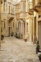 Vittoriosa, Birgu, Malta.  Residential Street containing the Auberge d'Angleterre, NW Mistral Street.