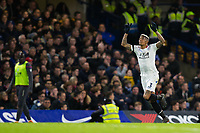 Crystal Palace's Patrick van Aanholt celebrates scoring his side's first goal <br /> <br /> Photographer Craig Mercer/CameraSport<br /> <br /> The Premier League - Chelsea v Crystal Palace - Saturday 10th March 2018 - Stamford Bridge - London<br /> <br /> World Copyright &copy; 2018 CameraSport. All rights reserved. 43 Linden Ave. Countesthorpe. Leicester. England. LE8 5PG - Tel: +44 (0) 116 277 4147 - admin@camerasport.com - www.camerasport.com