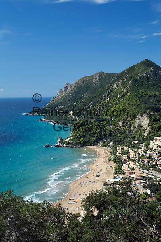 Greece, Corfu, Glyfada (Glifada): View over resort on West coast of island