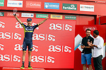 Adam Yates (GBR) Orica-Scott leads the young rider's classification on the podium at the end of Stage 9 of the 2017 La Vuelta, running 174km from Orihuela Ciudad del Poeta Miguel Hernandez to Cumbre del Sol, El Poble Nou de Benitatxell, Spain. 27th August 2017.<br /> Picture: Unipublic/&copy;photogomezsport | Cyclefile<br /> <br /> <br /> All photos usage must carry mandatory copyright credit (&copy; Cyclefile | Unipublic/&copy;photogomezsport)