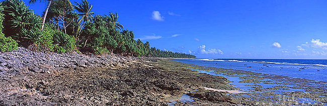 Tuvalu Panorama - Ocean side of Funafuti, Tuvalu<br />