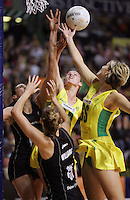 24.07.2007 Silver Ferns (L-R) Joline Henry Casey Willimascompete with Australian Sharelle McMahon and Catherine Cox during the Silver Ferns v Australia second netball test in Adelaide, Australia. Mandatory Photo Credit ©Michael Bradley. **$150 + GST USAGE FEE DOES APPLY**