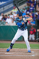 Ogden Raptors center fielder James Outman (47) at bat during a Pioneer League game against the Billings Mustangs at Lindquist Field on August 17, 2018 in Ogden, Utah. The Billings Mustangs defeated the Ogden Raptors by a score of 6-3. (Zachary Lucy/Four Seam Images)