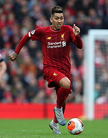 7th March 2020; Anfield, Liverpool, Merseyside, England; English Premier League Football, Liverpool versus AFC Bournemouth; Roberto Firmino of Liverpool races forward with the ball