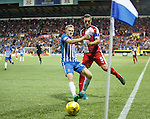 Luke Hendrie and Lee Wallace at the corner flag