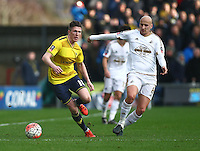 John Lundstram of Oxford United and Jonjo Shelvey of Swansea   during the Emirates FA Cup 3rd Round between Oxford United v Swansea     played at Kassam Stadium  on 10th January 2016 in Oxford
