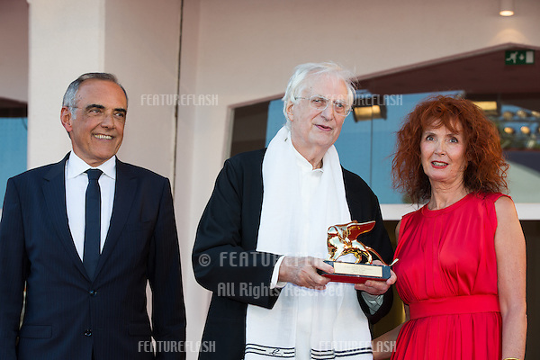 Actress Sabine Azema, French director Bertrand Tavernier, Venice Film Festival director Alberto Barbera at a special screening of Tavernier's 1989 movie &quot;Life And Nothing But&quot; (&quot;La vie et rein d'autra&quot;). He was awarded with the Golden Lion For Lifetime Achievement 2015 at a ceremony at the 2015 Venice Film Festival.<br /> September 8, 2015  Venice, Italy<br /> Picture: Kristina Afanasyeva / Featureflash