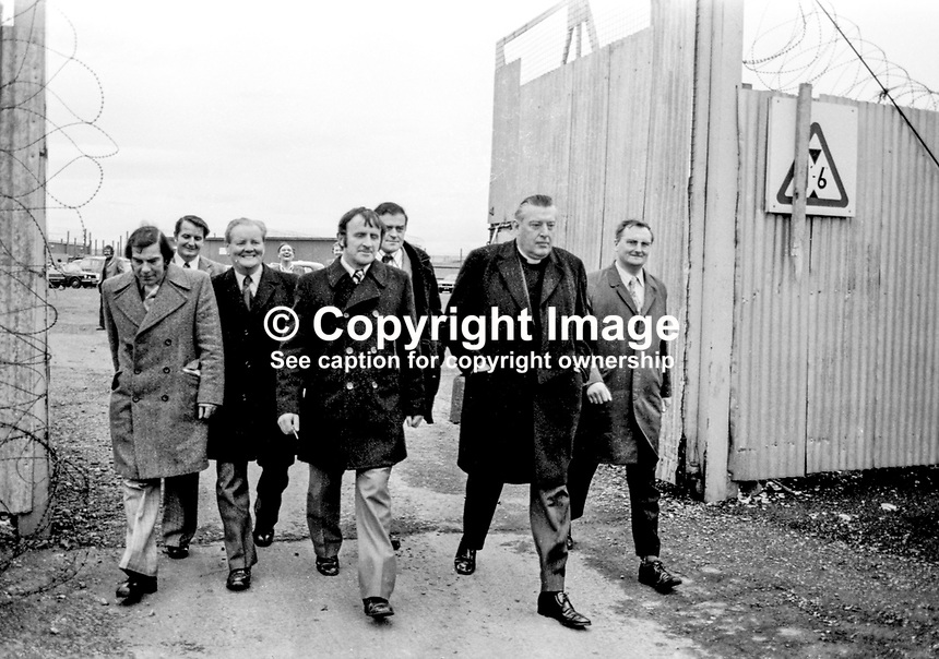 Loyalist MPs including Rev. Ian Paisley leaving the Maze Prison after an Inspection. November 197411000123<br />