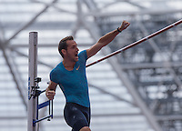Renaud LAVILLENIE of France punches the air in the POLE VAULT event during the Sainsbury's Anniversary Games, Athletics event at the Olympic Park, London, England on 25 July 2015. Photo by Andy Rowland.