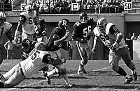 Angelo Mosca and Gary Inskeep Hamilton Tiger Cats tackle Ottawa Rough Rider quarterback Rick Cassata 1972. Photo Scott Grant