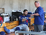 Los Angeles Dodgers&rsquo; Andre Ethier gets treatment in the dugout after fouling a ball off his leg in a spring training game in Scottsdale, Ariz., on Friday, March 18, 2016. <br />Photo by Cathleen Allison