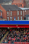 Crewe Alexandra 1 Leyton Orient 2, 18/01/2014. Gresty Road, League One. Visiting supporters watching the action during the first half of Crewe Alexandra's home game against Leyton Orient in the SkyBet League One at the Alexandra Stadium, Gresty Road, Crewe. The match was won by the visitors from London by 2-1 with two goals on debut by Chris Dagnall, sending Orient to the top of the league. The match was watched by 4830 spectators. Photo by Colin McPherson.