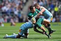 Anthony Allen is double-tackled. Aviva Premiership Final, between Leicester Tigers and Northampton Saints on May 25, 2013 at Twickenham Stadium in London, England. Photo by: Patrick Khachfe / Onside Images