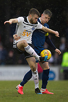 7th March 2020; Somerset Park, Ayr, South Ayrshire, Scotland; Scottish Championship Football, Ayr United versus Dundee FC; Aaron Drinan of Ayr United challenges for the ball with Josh Meekings of Dundee