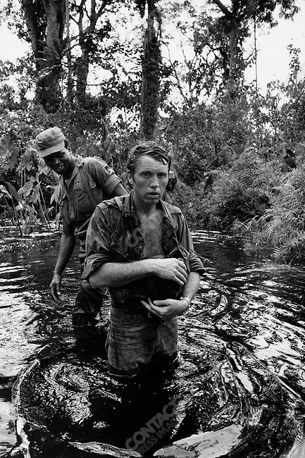 Photographer Don McCullin, near Onitsha, Biafra, Nigeria, April 1968..photographed by Gilles Caron