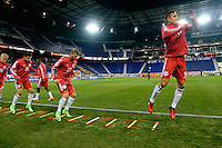 Harrison, NJ - Wednesday Feb. 22, 2017: Salvatore Zizzo, Daniel Royer, Aaron Long prior to a Scotiabank CONCACAF Champions League quarterfinal match between the New York Red Bulls and the Vancouver Whitecaps FC at Red Bull Arena.