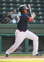 Infielder Michael Almanzar (17) of the Greenville Drive, Class A affiliate of the Boston Red Sox, in the first game of a doubleheader against the Rome Braves on August 15, 2011, at Fluor Field at the West End in Greenville, South Carolina. Rome defeated Greenville, 6-3. (Tom Priddy/Four Seam Images)