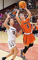 Westside Eagle Observer/RANDY MOLL<br /> Gravette senior Gabbi Scott goes up for a two-point shot over Gentry's Jaiden Wilmoth during play in Gentry on Feb. 4, 2020.
