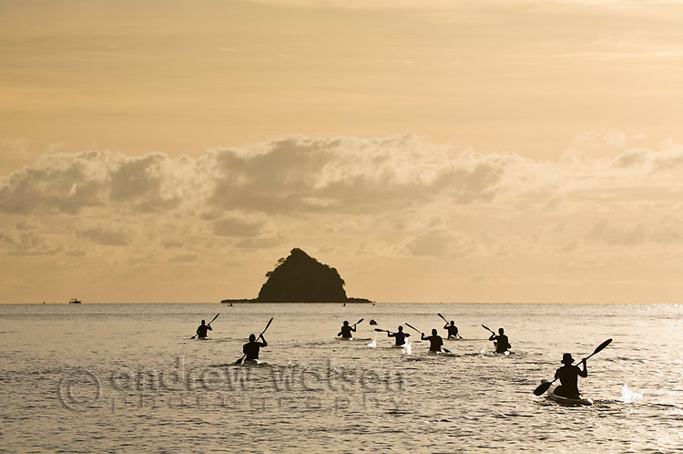 Group of kayakers paddling out to sea with Haycock Island (also known as Scout Hat Island) in background.  Palm Cove, Cairns, Queensland, Australia