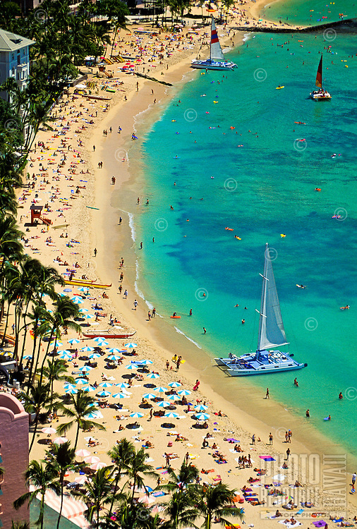 Lively shot of Waikiki Beach as seen from the top of the Sheraton Hotel. A large blue and white catamaran and dozens of blue and white umbrellas capture interest in the foreground. Hundreds of tourists are enjoying the most famous beach in the world