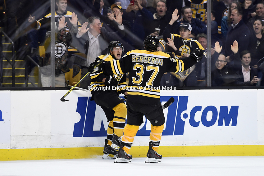 Monday, December 14, 2015: Boston Bruins left wing Brad Marchand (63) reacts to scoring a goal during the National Hockey League game between the Edmonton Oilers and the Boston Bruins held at TD Garden, in Boston, Massachusetts. Edmonton defeats Boston 3-2 overtime. Eric Canha/CSM