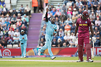 Jofra Archer (England) celebrates the wicket of Carlos Braithwaite (West Indies) caught behind during England vs West Indies, ICC World Cup Cricket at the Hampshire Bowl on 14th June 2019