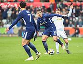 17th March 2018, Liberty Stadium, Swansea, Wales; FA Cup football, quarter-final, Swansea City versus Tottenham Hotspur; Erik Lamela of Tottenham Hotspur uses his strength to beat Tom Carroll of Swansea City
