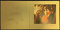 BNPS.co.uk (01202 558833)<br /> Pic: Rowleys/BNPS<br /> <br /> Pictured: 1961 and another painting of the Holy family.<br /> <br /> A series of Christmas cards sent by the Royal Family to a married couple on their staff over a 25 year period have sold for £2,000.<br /> <br /> Most of the cards were sent by the Queen and Prince Philip and show the changing face of the monarchy from the black-and-white post war world to the colourful 1970s.<br /> <br /> They were sent to the couple who worked at Balmoral, the wife in the house and the husband on the estate.<br /> <br /> The cards were sold individually with the most expensive being the one for Christmas 1947 which was signed by King George VI and the Queen Mother.