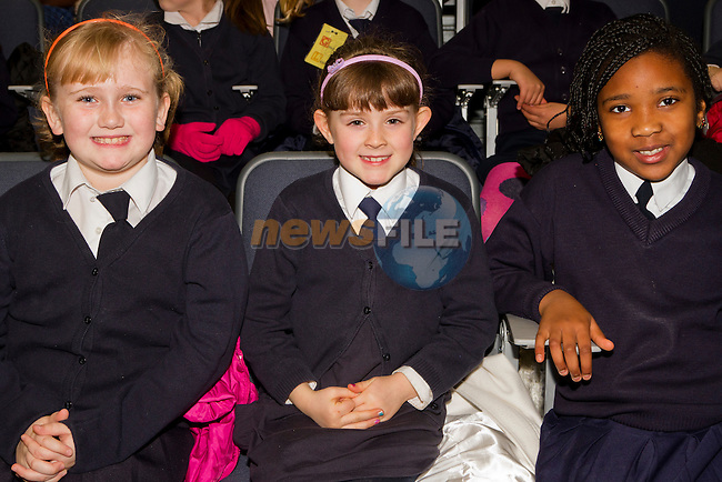 Katelyin-Rose Brady, Victoria Stone and Precious Ojedele in the Barbican for 'Drogheda Reads Roddy Doyle'..Picture: Shane Maguire / www.newsfile.ie.