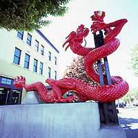 """Red Dragon"" Sculpture - Victoria Chinatown National Historic Site, BC, Vancouver Island, British Columbia, Canada (Oldest Chinatown in Canada)"