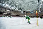 Stockholm 2014-01-10 Bandy Elitserien Hammarby IF - Sandvikens AIK :  <br />  Hammarbys Ulf Einarsson sl&aring;r en h&ouml;rna i Tele2 Arena under matchen mot Sandviken<br /> (Foto: Kenta J&ouml;nsson) Nyckelord:  inomhus interi&ouml;r interior