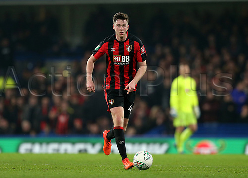 20th December 2017, Stamford Bridge, London, England; Carabao Cup quarter final, Chelsea versus Bournemouth; Dan Gosling of Bournemouth comes forward on the ball