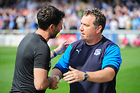 Lincoln City manager Danny Cowley, left, and Tranmere Rovers manager Micky Mellon<br /> <br /> Photographer Chris Vaughan/CameraSport<br /> <br /> The EFL Sky Bet League Two - Lincoln City v Tranmere Rovers - Monday 22nd April 2019 - Sincil Bank - Lincoln<br /> <br /> World Copyright © 2019 CameraSport. All rights reserved. 43 Linden Ave. Countesthorpe. Leicester. England. LE8 5PG - Tel: +44 (0) 116 277 4147 - admin@camerasport.com - www.camerasport.com