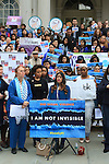 Speaker talks at City Hall during the Denim Day 2016 rally in New York City on April 27, 2016.