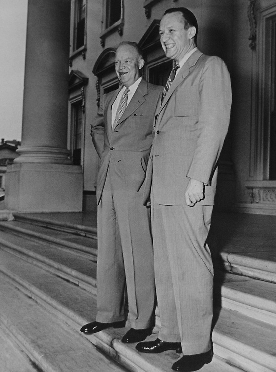 President Dwight D. Eisenhower with Senate Majority Leader William F. Knowland, on Aug. 6, 1953. (Photo by CQ Roll Call via Getty Images)