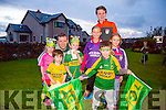 The Home Coming -The Minor Kerry Team are Welcomed back to Dingle on Tuesday by l-r Muiris O Suilleabhain, Blathanna Ní Shuilleabhain, Muiris O Suilleabhain, Jr., Aidán O Suilleabhain, Cormac O Dubháin, Aidán O Dubháin,  Orla O Dubháin agus Caomihe O Dubháin.