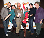 Scott Richard Foster, Natalie Charlé Ellis, Forbidden Broadway creator, writer/director Gerard Alessandrini, Jenny Lee Stern, Marcus Stevens and musical director David Caldwell attending the 'Forbidden Broadway: Alive & Kicking' Original Cast CD vol. 11  signing & performance at the Drama Book Shop in New York on December 11, 2012