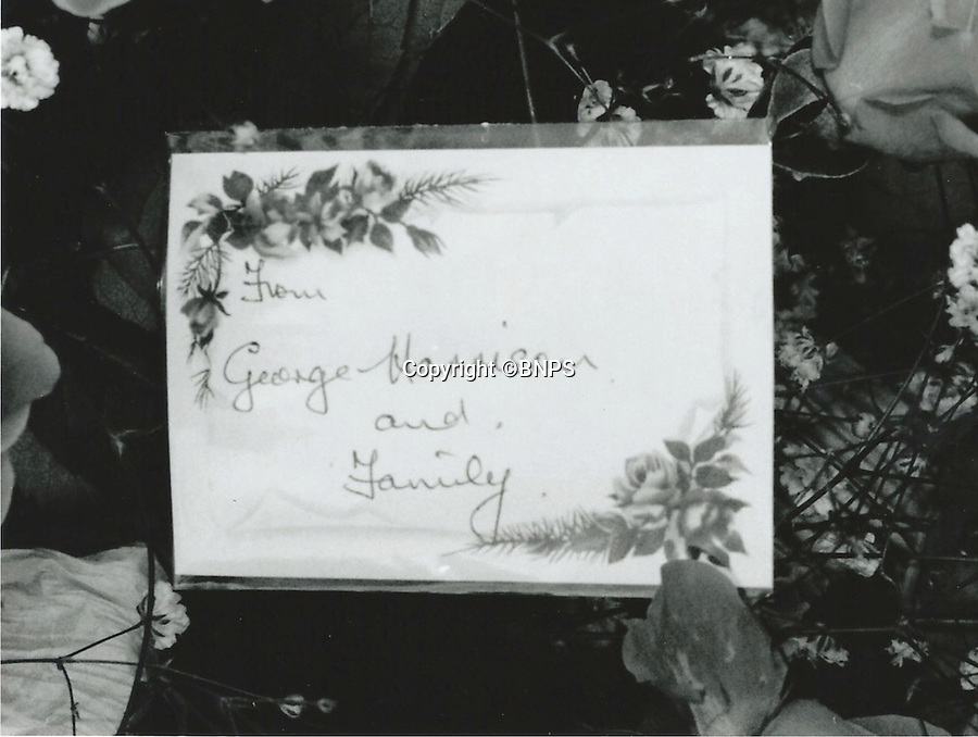 BNPS.co.uk (01202 558833)<br /> Pic: BNPS<br /> <br /> George Harrison family flowers at Aunt Mimi's funeral in Poole in 1991.<br /> <br /> The spectacular seaside view that John Lennon and his Aunt Mimi fell in love with in the swinging sixties is up for sale -  but you would have to be a rock star to afford the &pound;4.5million price tag.<br /> <br /> A house on a plot of land that tragic Beatle John Lennon bought for his beloved Aunt Mimi at the height of his fame has been put on the market for &pound;4.5 million.<br /> <br /> Lennon forked out &pound;26,500 for a bungalow on the plot on the exclusive Sandbanks peninsula in Poole Harbour in 1965 so that Mimi Smith, the auntie who raised him, could retire there.<br /> <br /> Mimi died aged 85 in December 1991 and her humble home, which had fallen into disrepair, was bulldozed by property tycoon Geoff Kaye after he paid &pound;410,000 for the site the following year.<br /> <br /> After living there for 21 years, Mr Kaye and his wife are selling up, giving Beatles fans a chance to own their own slice of rock 'n' roll history - but with a staggering &pound;4.5 million price tag, prospective buyers will have to have deep pockets.
