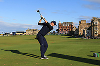 Kevin Pieterson (AM) playing with Bernd Wiesberger (AUT) on the 18th tee during Round 3 of the Alfred Dunhill Links Championship 2019 at St. Andrews Golf CLub, Fife, Scotland. 28/09/2019.<br /> Picture Thos Caffrey / Golffile.ie<br /> <br /> All photo usage must carry mandatory copyright credit (© Golffile | Thos Caffrey)