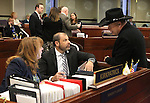 Nevada Assembly Minority Leader Marilyn Kirkpatrick, D-North Las Vegas, Majority Leader Paul Anderson, R-Las Vegas, and Assemblyman Jim Wheeler, R-Minden, talk on the Assembly floor at the Legislative Building in Carson City, Nev., on Friday, May 22, 2015. <br /> Photo by Cathleen Allison