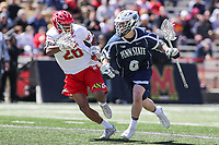 College Park, MD - April 8, 2017: Penn State Nittany Lions Ryan Keenan (6) fights off Maryland Terrapins Isaiah Davis-Allen (26) during game between Penn State and Maryland at  Capital One Field at Maryland Stadium in College Park, MD.  (Photo by Elliott Brown/Media Images International)