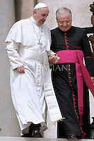 Pope Francis monsignor Leonardo Sapienza during his weekly general audience in St. Peter square at the Vatican, Wednesday. 1 May 2013