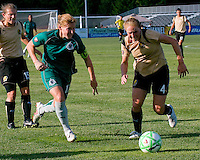 Saint Louis Athletica midfielder Lori Chalupny (17) and FC Gold Pride defender Rachel Buehler (4) during a WPS match at Anheuser-Busch Soccer Park, in St. Louis, MO, July 26, 2009.  The match ended in a 1-1 tie.