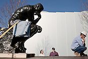 March 9, 2010. Raleigh, North Carolina.. A  6-foot-5-inch tall cast of Auguste Rodin's The Thinker was installed outside the new entrance of the soon to be re-opened North Carolina Museum of Art.