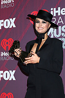 LOS ANGELES - MAR 14:  Bebe Rexha at the iHeart Radio Music Awards - Press Room at the Microsoft Theater on March 14, 2019 in Los Angeles, CA